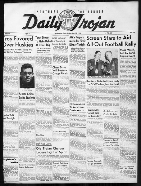 Daily Trojan, Vol. 38, No. 25, October 18, 1946