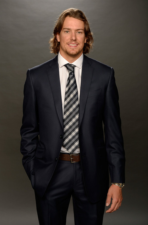 . Danny Dekeyser of the Detroit Red Wings poses for a portrait during the 2014 NHL Awards at Encore Las Vegas on June 24, 2014 in Las Vegas, Nevada.  (Photo by Harry How/Getty Images)
