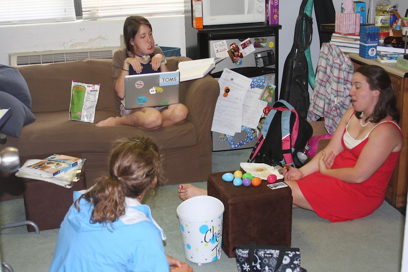 Students enjoy community together in Decker Hall.