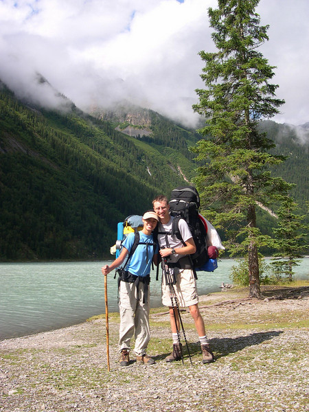 Californians: The native and the import prepare for nine miles of climbing to Berg Lake.