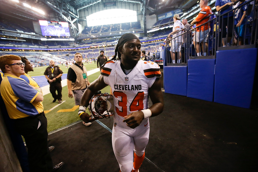 . Cleveland Browns running back Isaiah Crowell (34) leaves the field following an NFL football game against the Indianapolis Colts in Indianapolis, Sunday, Sept. 24, 2017. The Colts defeated the Browns 31-28. (AP Photo/AJ Mast)