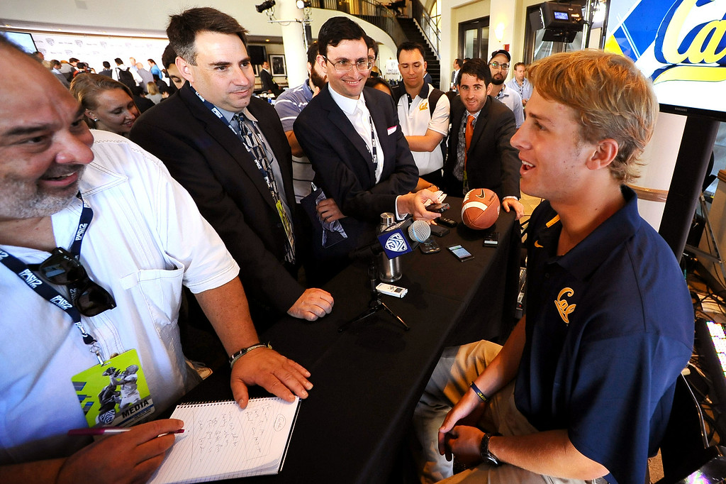 . California quarterback Jared Goff answers questions during PAC-12 Football Media Day at the Paramount Theater in Los Angeles, Ca July 23, 2014.(Andy Holzman/Los Angeles Daily News)