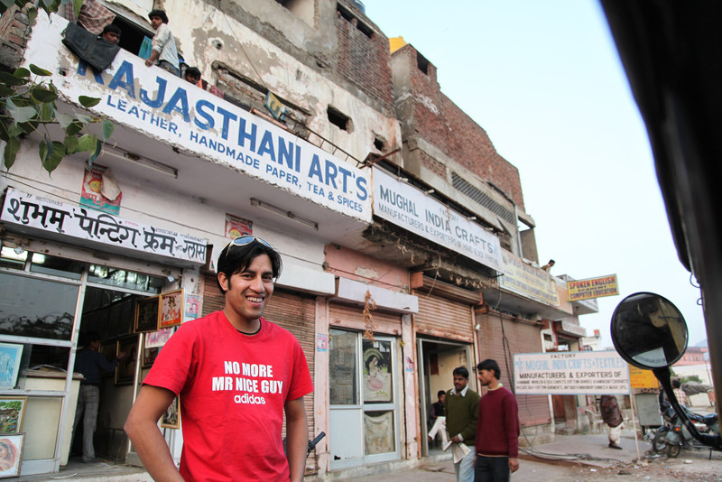 In front of the Mughal India Crafts store.