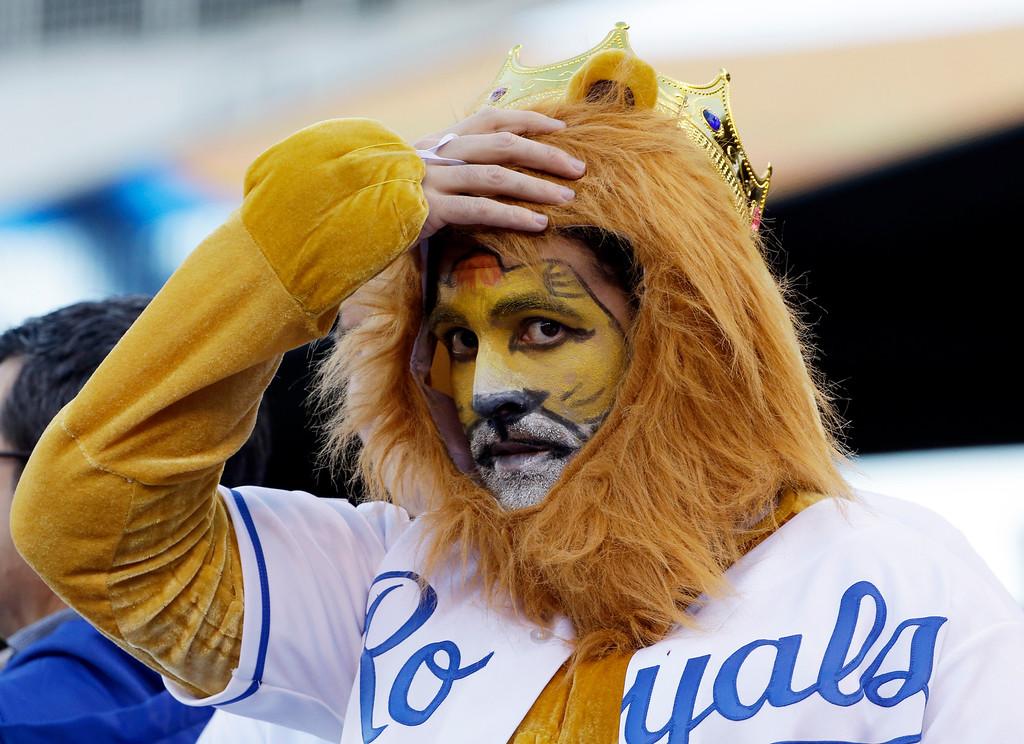 . Brandon Nieto wears a costume before Game 7 of baseball\'s World Series between the Kansas City Royals and the San Francisco Giants Wednesday, Oct. 29, 2014, in Kansas City, Mo. (AP Photo/David J. Phillip)