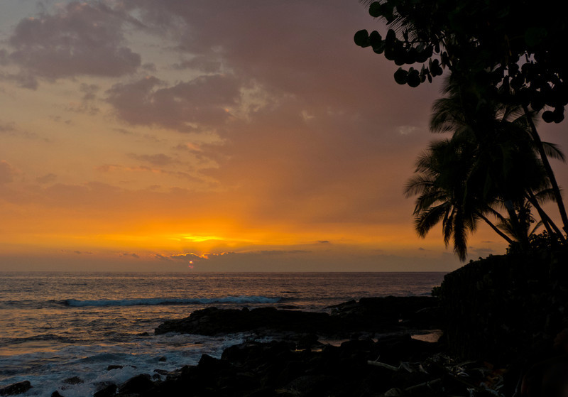 Our second sunset on the Big Island, right in front of the house.