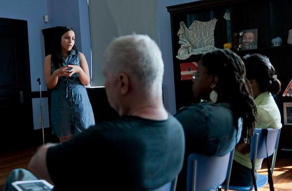 En Foco's Artist Talk: Dee Campos' El Salvador Series, held at the historical Harlem Library