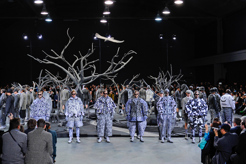 . Models present creations as part of American fashion designer Thom Browne\'s men\'s Fall-Winter 2014-2015 fashion collection, presented Sunday, Jan. 19, 2014 in Paris. (AP Photo/Zacharie Scheurer)