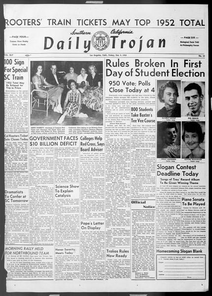 Daily Trojan, Vol. 45, No. 15, October 09, 1953