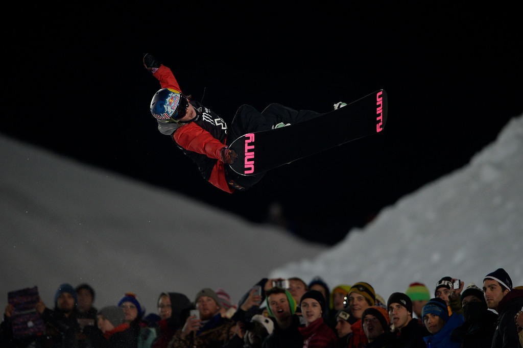 . Arielle Gold rides during the women\'s snowboard half pipe final. Winter X Games on Saturday, January 24, 2015. (Photo by AAron Ontiveroz/The Denver Post)