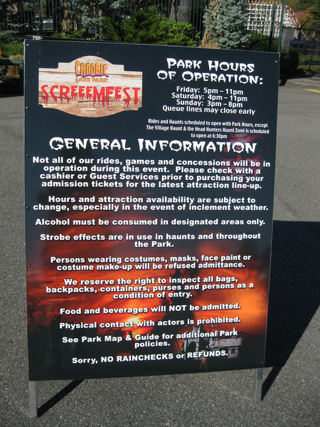 I visited Canobie Lake Park and Screeemfest on October 9, 2011.