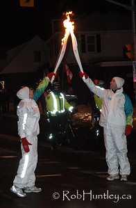 The Olympic Torch Relay for the 2010 Winter Olympics in Vancouver passed within 100 metres of our house and unknown to us beforehand it was a transition point for passing the flame from one participant to the next. This is at the intersection of Richmond Road and Fraser Avenue.  © Rob Huntley