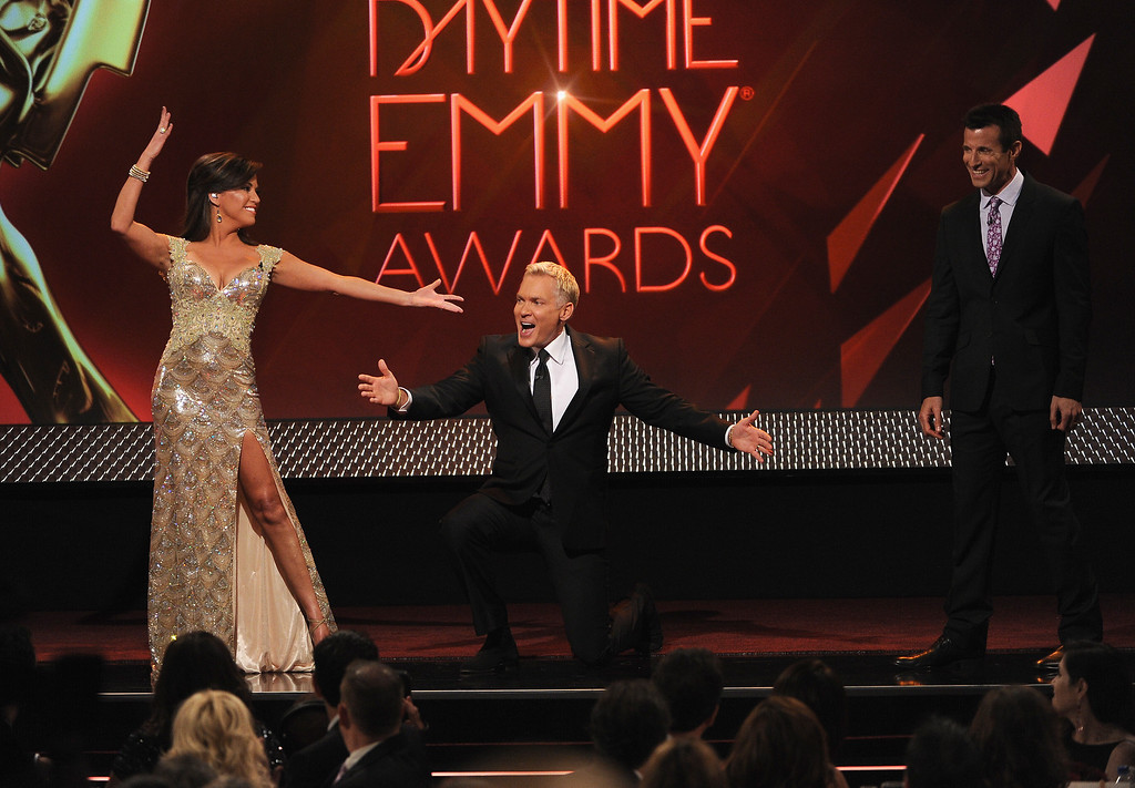 . (L-R) Hosts Robin Meade, Sam Champion and A.J. Hammer speak on stage during The 40th Annual Daytime Emmy Awards at The Beverly Hilton Hotel on June 16, 2013 in Beverly Hills, California.  (Photo by Kevin Winter/Getty Images)