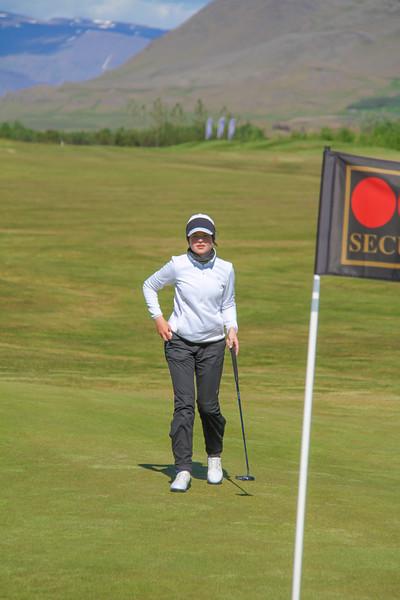 Hulda Clara Gestsdóttir, GKG, á 9. flöt á Garðaveli.  Mynd/seth@golf.is