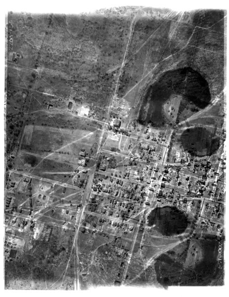 Aerial showing the center part of Kenilworth including the center of town. If you zoom in you can see some buildings that still stand today. This photo appears to have been some kind of double exposure so part of it can be very confusing.