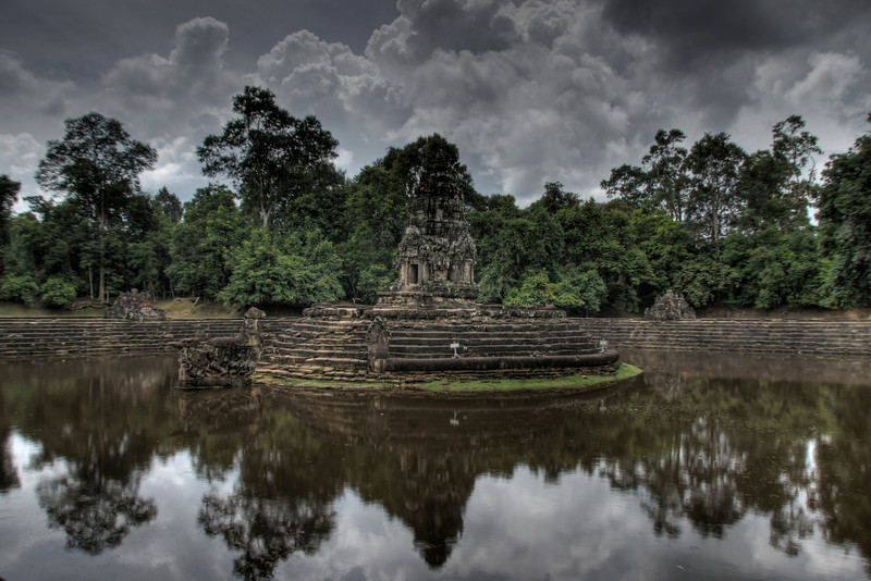 Isolated shot of Neak Pean in Angkor Wat complex