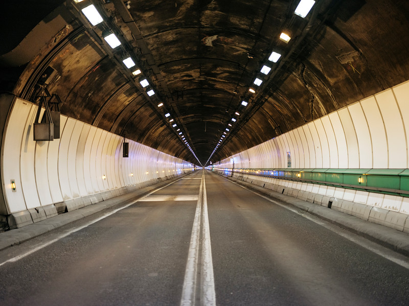 Middle of the tunnel du Mont-Blanc, looking towards France - Samuel Zeller for the New York Times