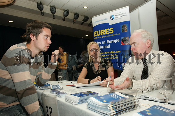 Jobs Fair at Canal Copurt Hotel Newry. LIsa Linsey and Jim McCourt from European Employmeny Services are pictured with Martin McGuigan from Ballyholland. 07W37N10