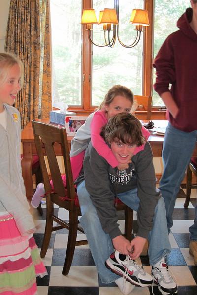 Paul's sister's family - Evelyn on the left, Lauren hanging on Paul.