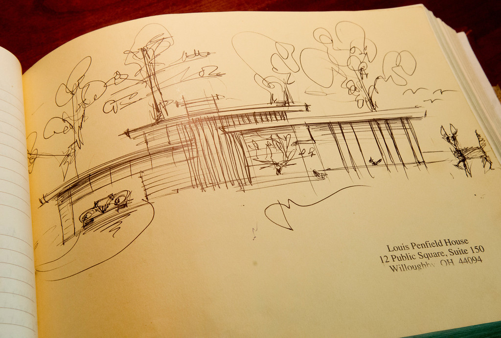 . Duncan Scott/DScott@News-Herald.com A drawing of the Louis Penfield House in the home\'s guestbook.