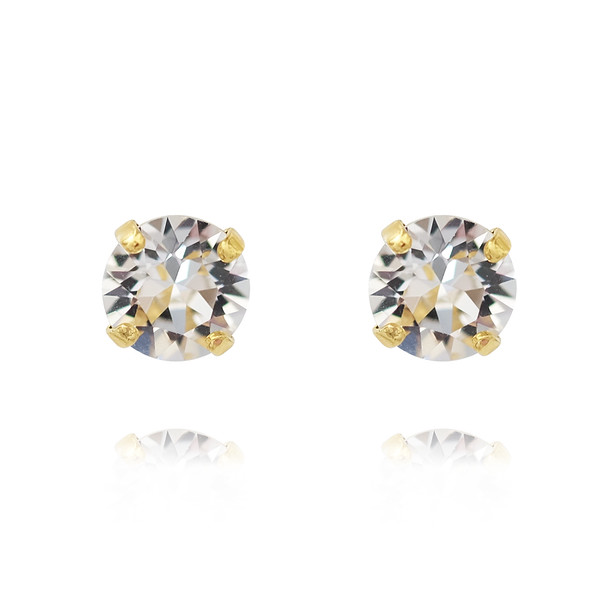 Petite Stud Earrings / Crystal Gold