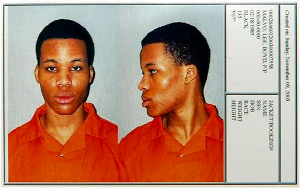 Description of . Washington area sniper suspect Lee Boyd Malvo is shown in a booking photo taken November 9, 2003 upon his transfer to the Chesapeake Correctional Center near Norfolk, Virginia. Convicted Washington sniper Lee Boyd Malvo said the devastated reaction of a victim's husband 10 years ago made him feel like