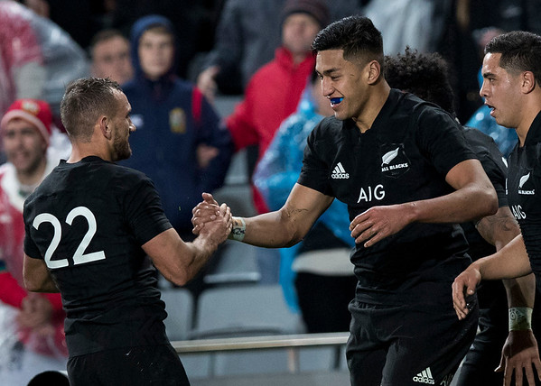 Aaron Cruden  congratulates Rieko Ioaneduring game 7 of the British and Irish Lions 2017 Tour of New Zealand, the first Test match between  The All Blacks and British and Irish Lions, Eden Park, Auckland, Saturday 24th June 2017 (Photo by Kevin Booth Steve Haag Sports)  Images for social media must have consent from Steve Haag