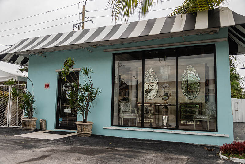 Storefront of James & Jeffrey Antiques on Antique Row in West Palm Beach, Wednesday, November 11, 2020. (JOSEPH FORZANO / THE PALM BEACH POST)
