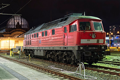 Evening Ludmilla Class 232 239_4 awaits next duty at Dresden HBf