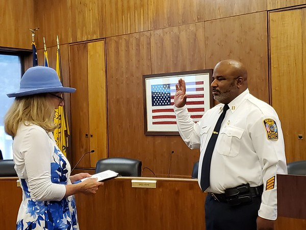 Justin Muszynski | Staff Stephen Tavares was promoted from lieutenant to captain of the Bristol Police Department during a ceremony Thursday in the City Council Chambers.