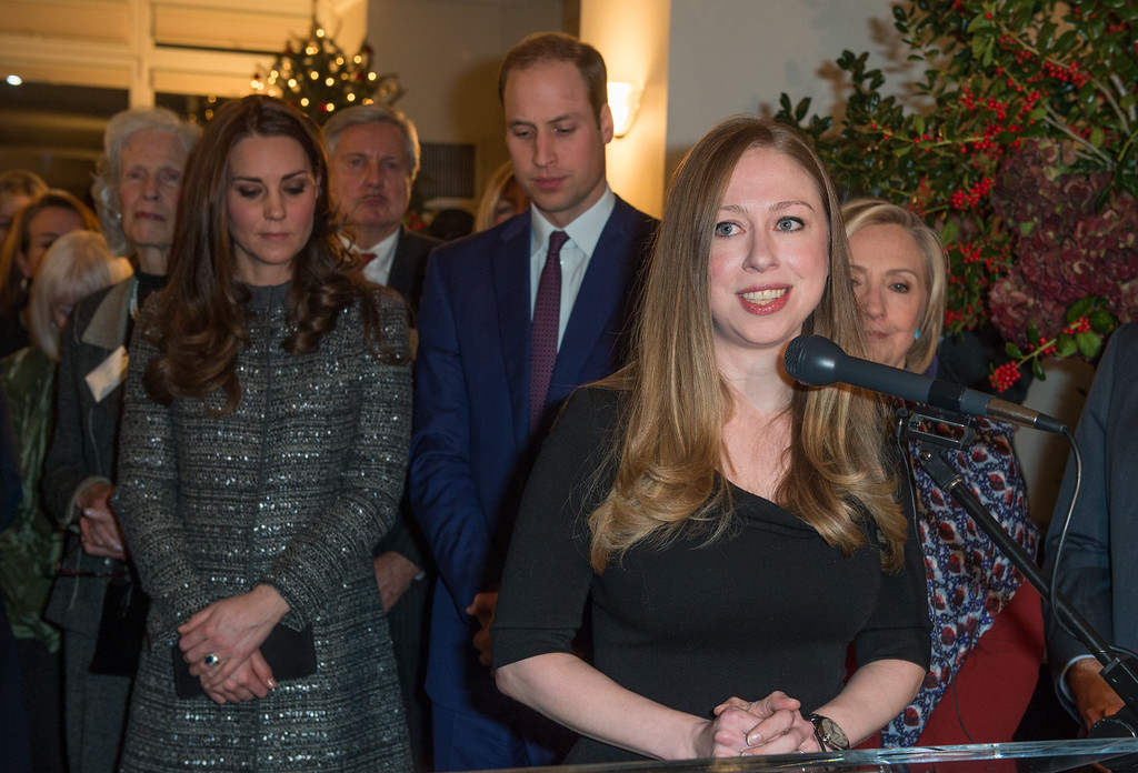 . Chelsea Clinton gives a speech in front of former United States Secretary of State, Hillary Clinton, Prince William, Duke of Cambridge, Catherine, Duchess of Cambridge and guests during a conservation reception at British Consul General\'s Residence on December 8, 2014 in New York City.  (Photo by Samir Hussein - Pool/Getty Images)