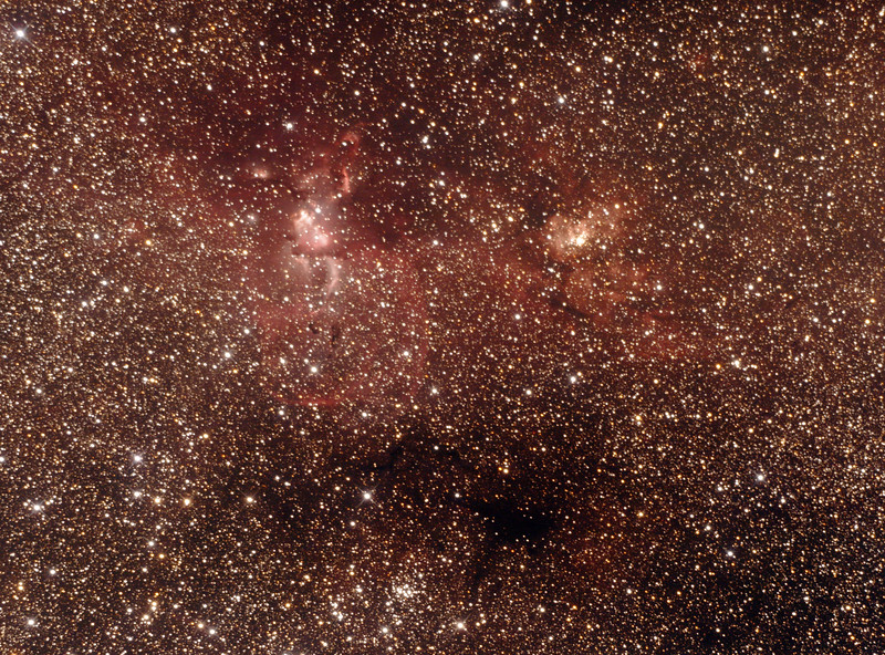 NGC3576 - Gum38a Nebula and NGC3603 - Gum38b Open Cluster in Carinae - 3/2/2017 (Processed cropped stack)