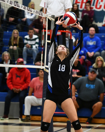 11/7/2019 Mike Orazzi | StaffrBristol Eastern's Leah Chipman (18) during the CCC girls volleyball tournament at Avon High School on Thursday.