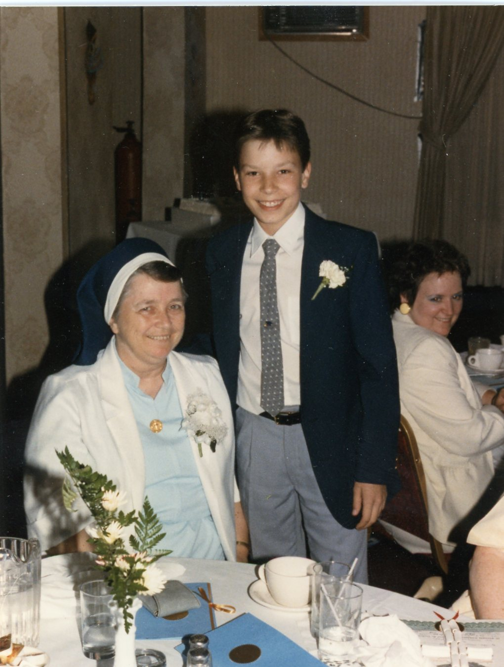 . Jimmy Fallon and Margaret Taylor, then principal of St. Mary of the Snow Catholic School. (Photo provided by Maria Gruen)