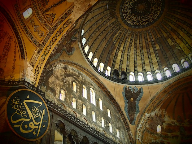 Ceiling frescos and Islamic calligraphy inside Hagia Sofia