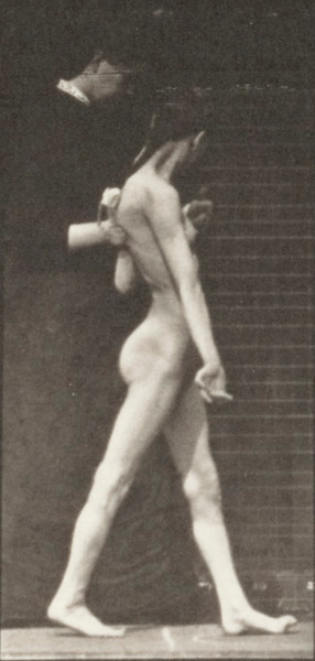 Nude girl spastically walking