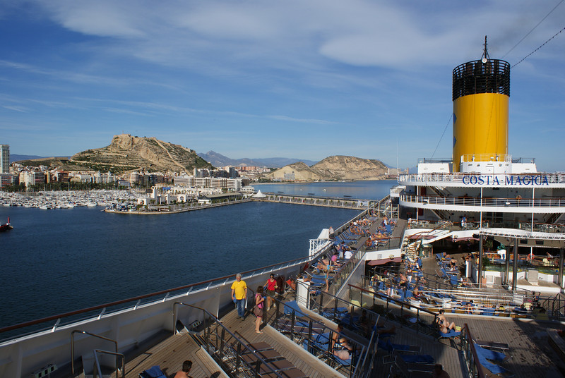 Alicante, Spain.  Santa Barbara Castle in distance.