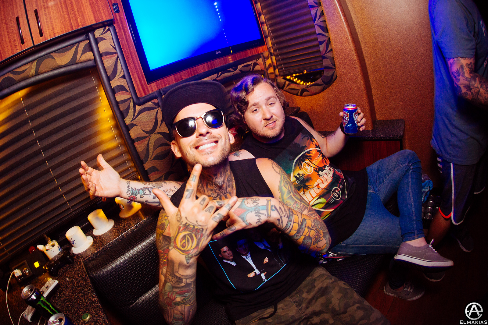 Mike Fuentes of Pierce the Veil and Ryan Burt of The Amity Affliction at Warped Tour 2015 by Adam Elmakias