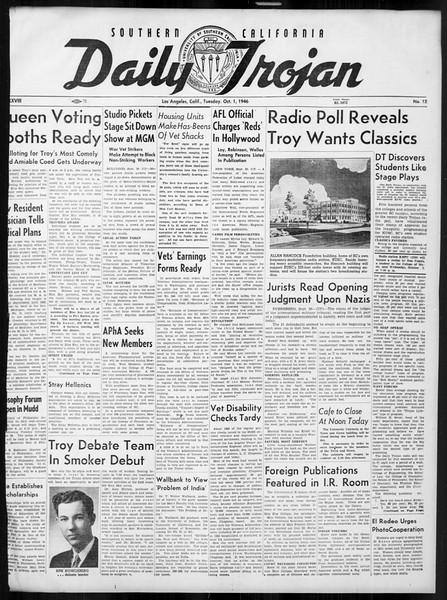 Daily Trojan, Vol. 38, No. 12, October 01, 1946