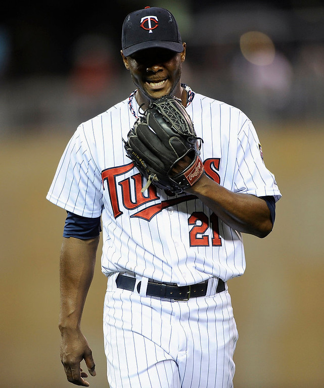 . Samuel Deduno  of the Minnesota Twins reacts after the top of the fifth inning. (Photo by Hannah Foslien/Getty Images)