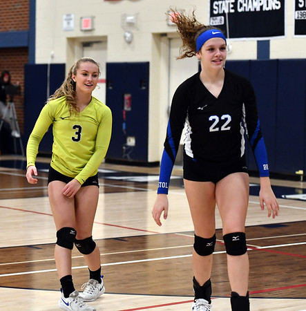 11/7/2019 Mike Orazzi | StaffrBristol Eastern's Rebecca Bender (3) and Hannah Webber (22) during the CCC girls volleyball tournament at Avon High School on Thursday.