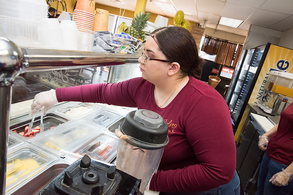 04/16/19 Wesley Bunnell | Staff Jalao Deli and Restaurant located at 647 Stanley St held a grand re-opening on Tuesday afternoon. Employee Nicole Perez makes a smoothie for a waiting customer.