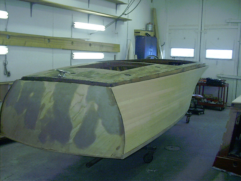 Rear view of boat right side up.
