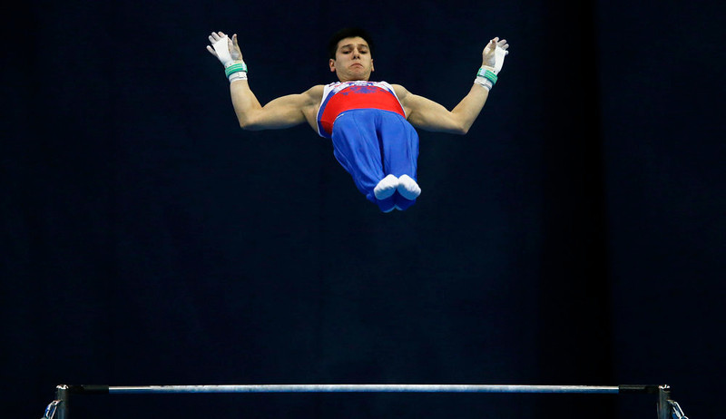 . Emin Garibov of Russia competes on the horizontal bar during the men\'s apparatus finals at the European Men\'s and Women\'s Artistic Gymnastic Individual Championships in Moscow April 21, 2013.  REUTERS/Grigory Dukor