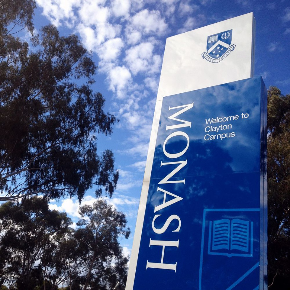 Monash Univserity Clayton Campus sign (photo credit: Glassdoor)