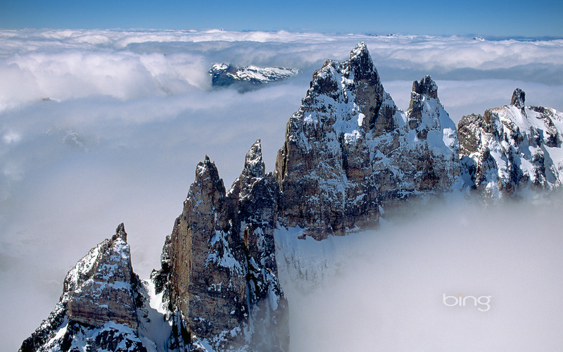 Jagged peaks in the Patagonian Andes in Argentina