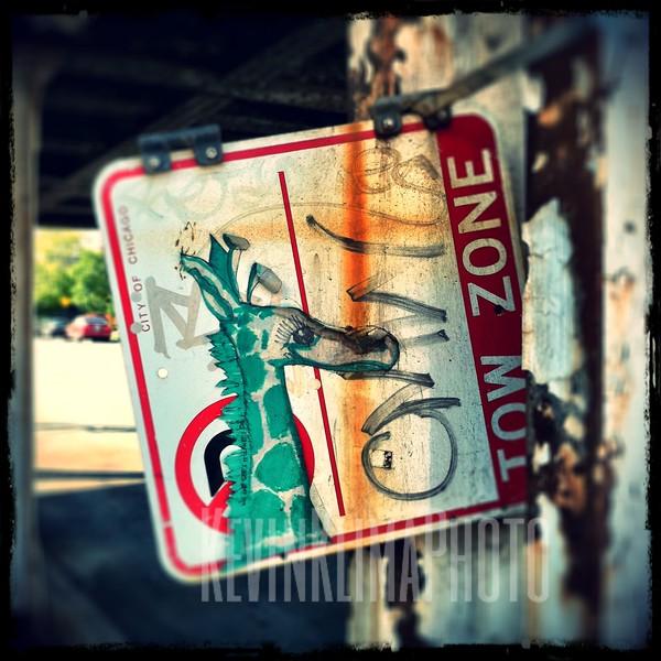 No Parking Tow Zone Giraffe Sign