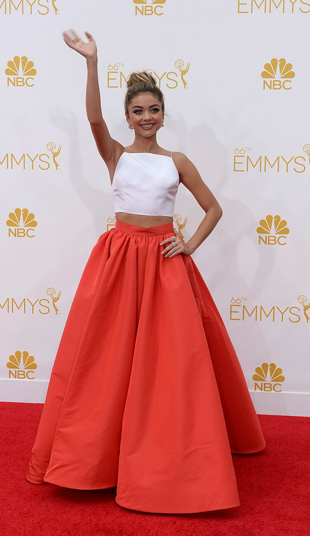 . Sarah Hyland on the red carpet at the 66th Primetime Emmy Awards show at the Nokia Theatre in Los Angeles, California on Monday August 25, 2014. (Photo by John McCoy / Los Angeles Daily News)