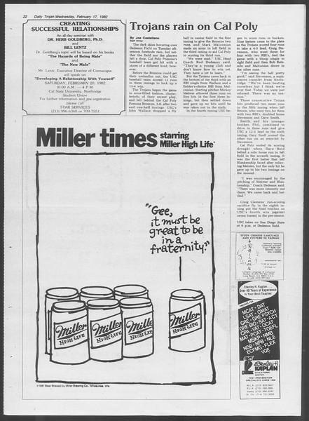 Daily Trojan, Vol. 91, No. 24, February 17, 1982