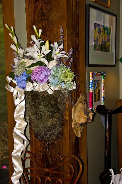 This beautiful arrangement was created for the front door to welcome guests arriving to celebrate Dee and Katie Warren's recent marriage.