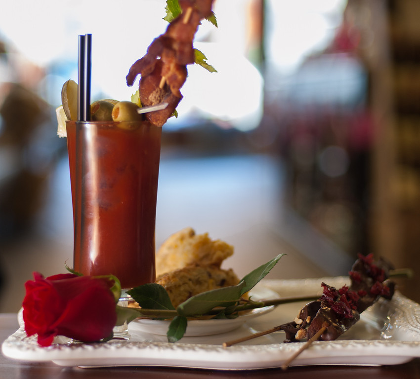 . A Bloody Mary with bacon vodka is shown with chocolate-covered bacon and bacon cheddar & chive scones at the Market on Main in downtown Mt. Pleasant, Mich. (Sun photo by Holly Mahaffey/@hollymahaffey)